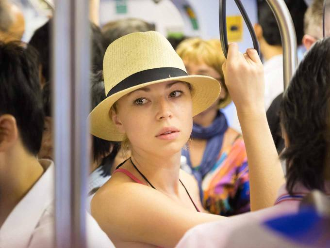 Girl in a bus