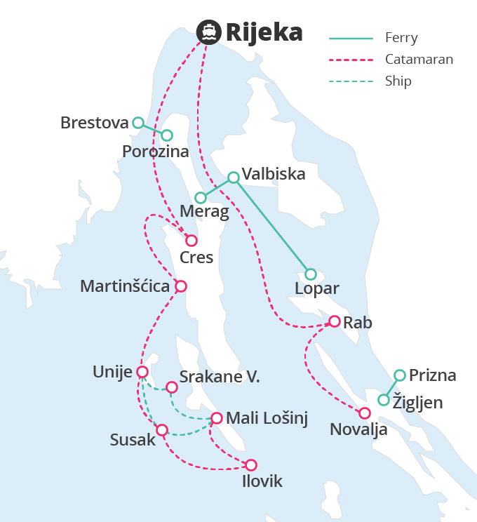 The Jadrolinija shipping company offers connections to the islands of Krk, Cres, Pag, Rab, Mali Lošinj, Unije, Vele Srakan and Susak