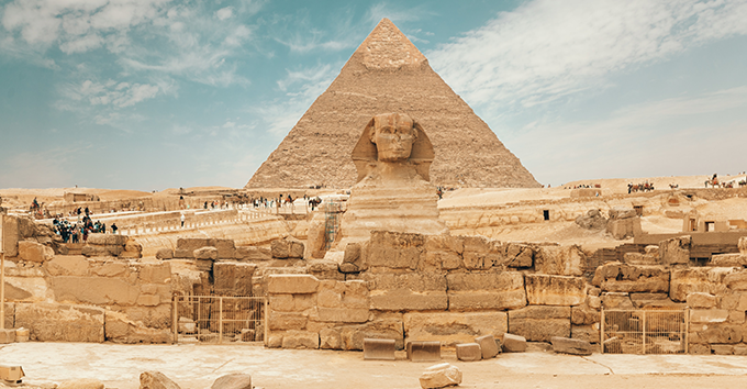 Khafre's necropolis also included the Sphinx, a mysterious limestone monument with the body of a lion and a pharaoh's head.
